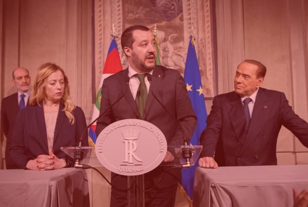 """Photo: """"I Gruppi """"Lega-Salvini Premier"""", """"Forza Italia-Berlusconi Presidente"""" e """"Fratelli d'Italia"""", del Senato della Repubblica e della Camera dei deputati in occasione delle consultazioni"""", by Presidenza della Repubblica. Hue modified from the original"""