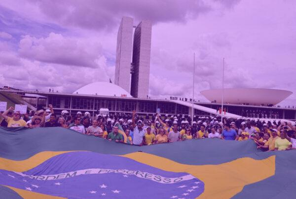 "Photo: ""Manifestação em frente ao Congresso Nacional"", by Senado Federal licensed under CC BY 2.0. Hue modified from the original"