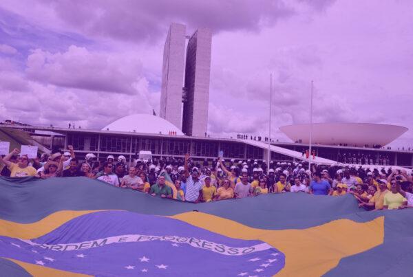 """Photo: """"Manifestação em frente ao Congresso Nacional"""", by Senado Federal licensed under CC BY 2.0. Hue modified from the original"""