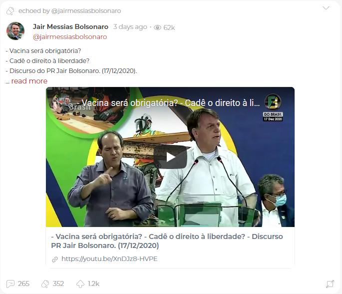 Parler post by Jair Messias Bolsonaro
