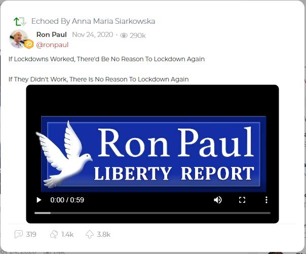 Echo by Anna Maria Siarkowska sharing a post by former U.S. Representative Ron Paul