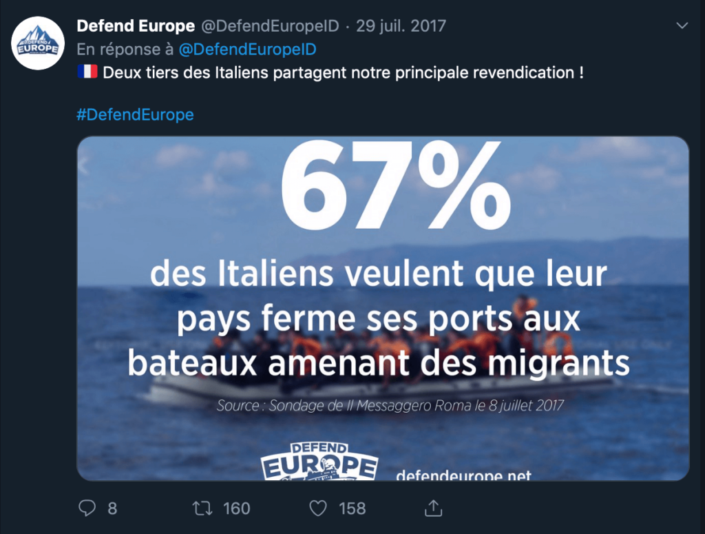 Tweet from Defend Europe about the closure of ports