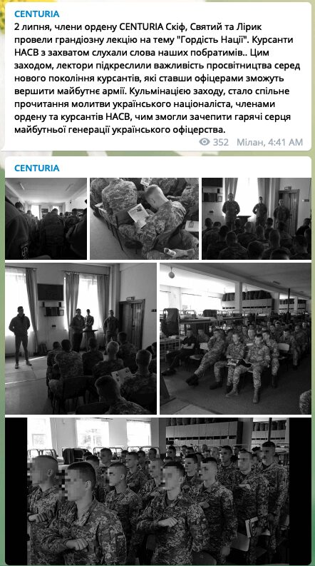 """11 Screenshot of Centuria Telegram post about a """"Pride of the Nation""""-themed lecture held by Centuria members for NAA cadets. The post identifies three participating Centuria"""