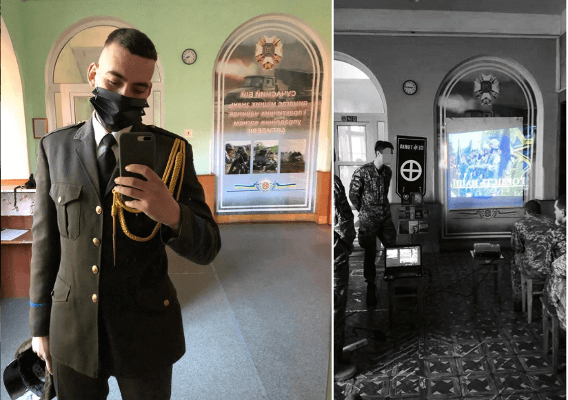 18 A side-by-side comparison of a photo (left) posted to social media by an NAA cadet and a vertically-flipped Centuria photo from what looks, save for the carpeting, like t