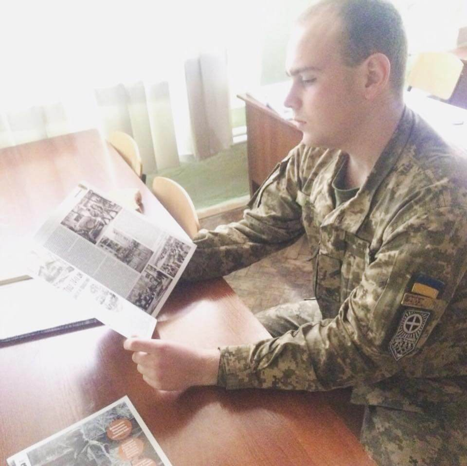 21 Photo from a post by the Azov-linked Національна оборона (English National Defense) magazine. The individual in the photo is likely Nazar Livenets. When reached for comme