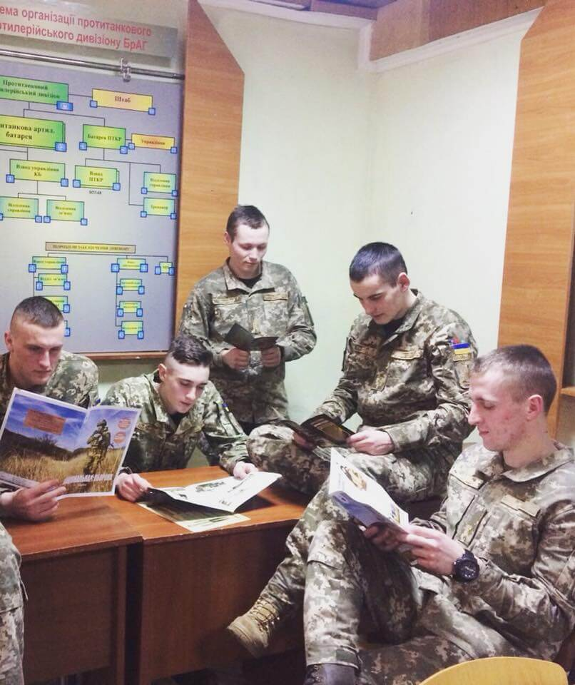 24 Photo posted by the Національна оборона (English National Defense) magazine. First from the left is Serhiy Blinov, second from the left is Danylo Tikhomirov, and second f