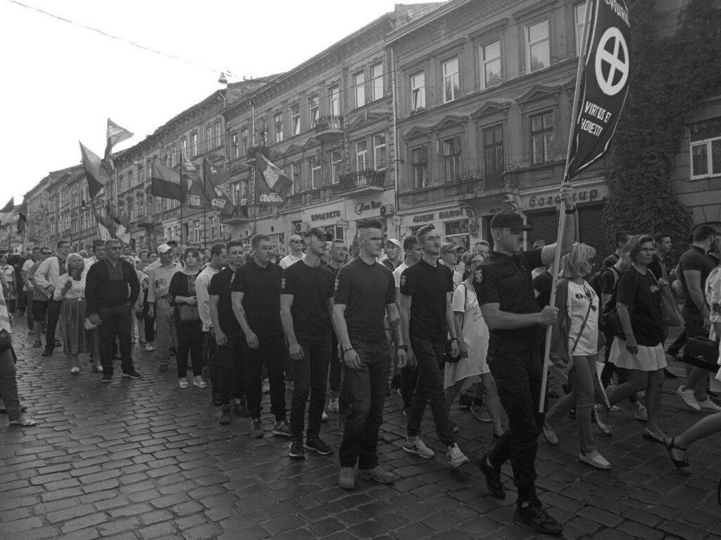 25 Photo posted by Centuria on Telegram showing the group at the March of the Millennium of the Ukrainian State (Ukrainian Марш тисячоліття Української держави) on June 30,