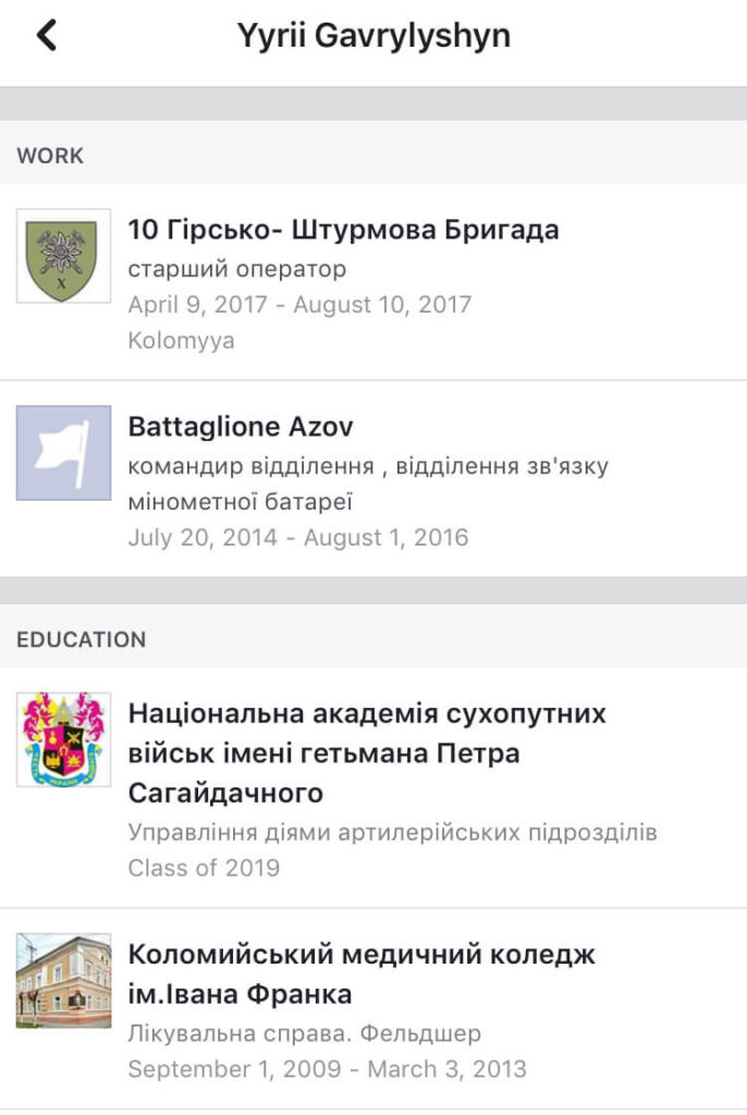 33 A screenshot of the now-deleted Facebook profile of Yuriy Gavrylyshyn