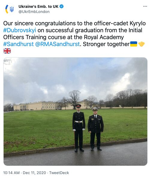 42 Tweet about Kyrylo Dubrovskyi by the Embassy of Ukraine to the United Kingdom