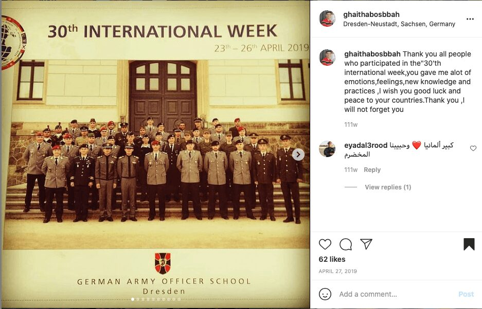 47 Screenshot of an Instagram post by another apparent participant in the 30th International Week event held by Germany's Army Officers' Academy. Vintergoller is on the righ