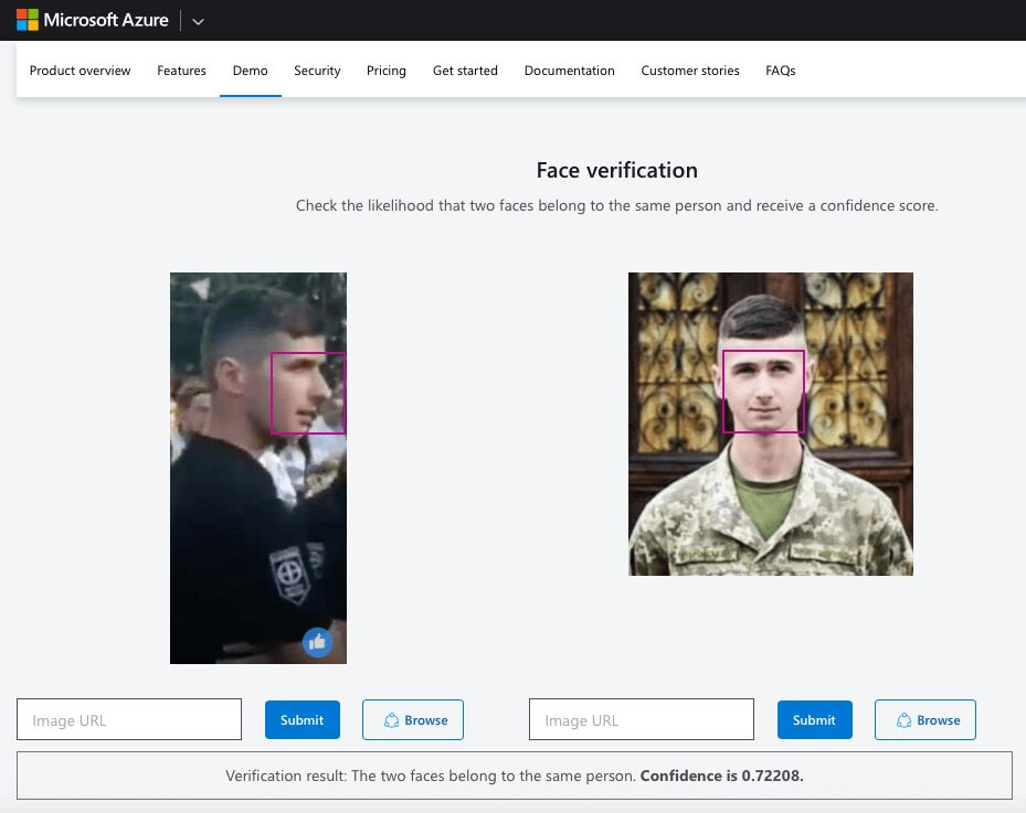 """49 Screenshot of the results of Face Verification by Microsoft Azure. On the left is a still from the rally, on the right is a photo taken from Dubrovskyi's Facebook. """"The t"""