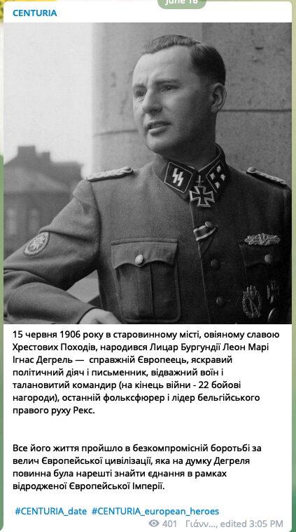 52 Screenshot of a Centuria Telegram post about Belgian Nazi collaborator and SS officer Léon Degrelle