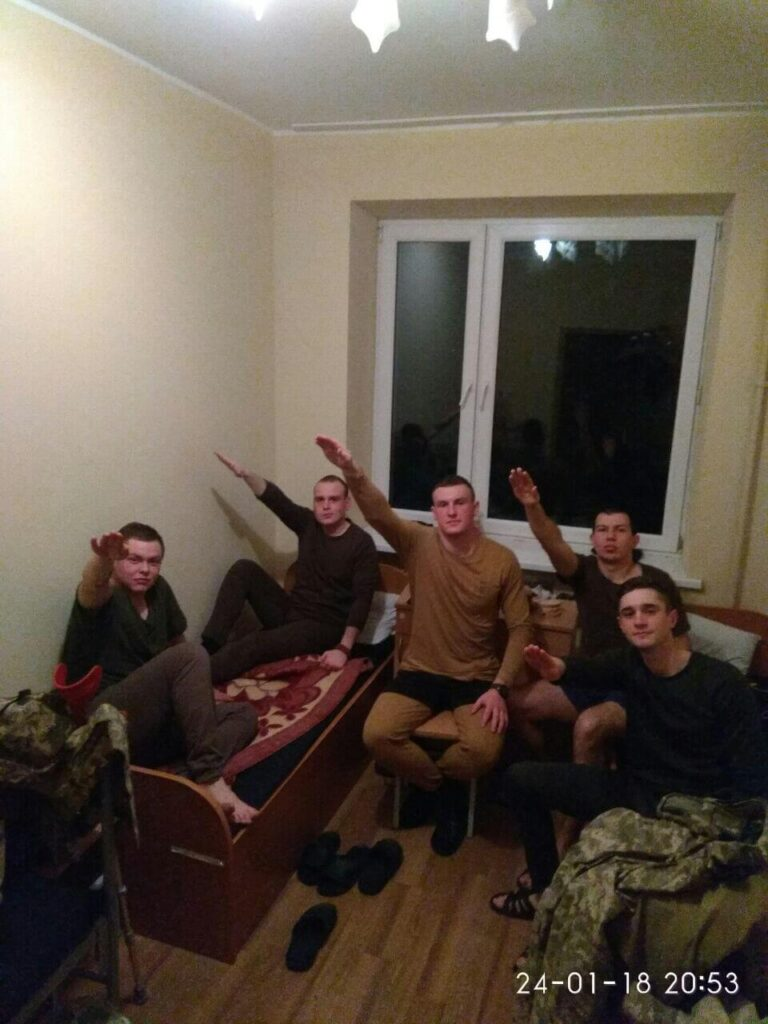55 VK photo showing apparent Centuria members, presumably in early 2018, before the group's self-described launch in the May of that year. From left Mykhailo Alfanov, Nazar