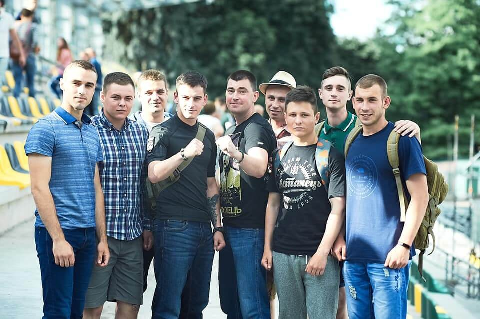68 Photo posted by Azov figure Yuriy Mykhalchyshyn. The same photo was also posted on Instagram by an apparent Centuria member, Yevhen Romanchenko, seen on the far right of