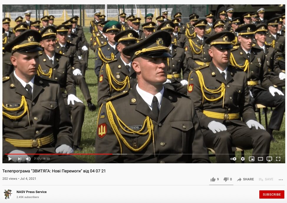 74 Screenshot from a video report about the June 2021 officer cadets graduation ceremony shows Serhiy Blinov (center), who appeared in an early 2018 photo of Centuria member