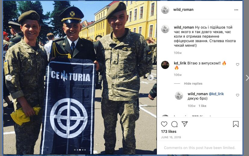 """9.1 9 Screenshot of a June 2019 Instagram post by then NAA cadet Roman Rusnyk (wearing parade uniform). In his post, Rusnyk writes about receiving """"officer rank."""" The NAA's"""
