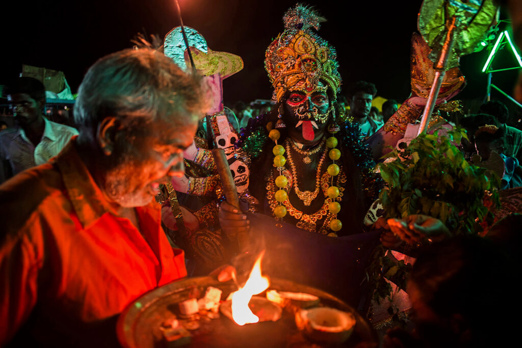 Aravan, the deity of the local temple, is celebrated during the Koovagam festival