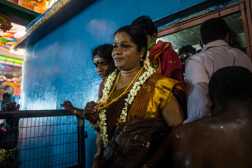 Rangeela, 36, with the sacred thread that symbolizes her ceremonial wedding to the temple deity, Aravan